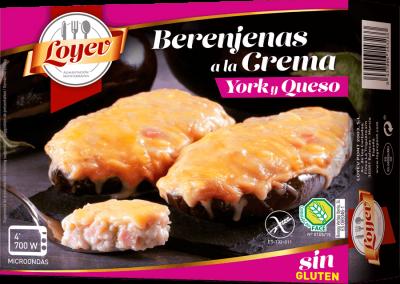 Berenjenas a la crema de jamón york y queso