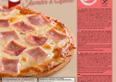 PIZZA DE JAMON Y QUESO SIN GLUTEN