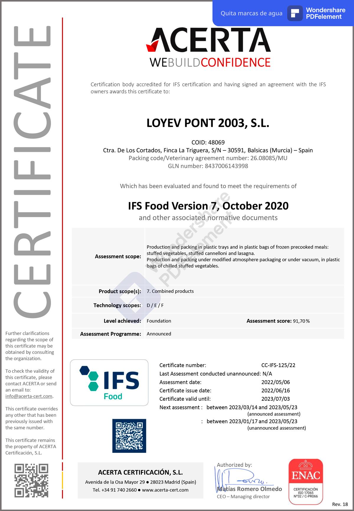 IFS Certificado LOYEV PONT